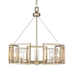 Make a chic modern statement in any space of your home with this eye-catching chandelier. Showcasing that gives warm undertones to the bold square frames, and clear glass cylinders which surround the stately silhouettes of candelabra bulbs, this must-have luminary is brimming with chic style. Hang this lovely drum chandelier in your dining room to cast a warm glow over every meal from sophisticated soirees to weeknight family dinners. Or set it in your entryway or foyer to craft a chic…