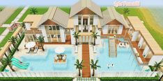 Sims Freeplay Houses, Sims 4 Houses, Big Houses, Lego Mansion, Lego Beach, Sims Free Play, Beach Mansion, Sims House Plans, Casas The Sims 4