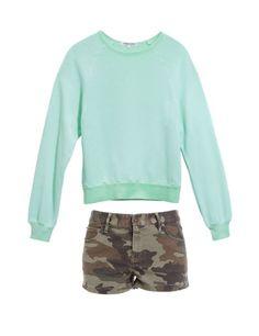 mint sweatshirt + camo shorts