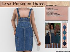 Lana Pinafore Dress - NEW MESH NEW MESH. 4 Swatches. HQ mod compatible. Normal map and shadow map. Custom thumbnails. Base g...