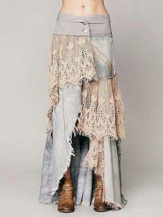 Normally I hate long jean skirts made from old jeans, but the lace could make it cute, if the denim is thin enough. Mode Hippie, Mode Boho, Denim And Lace, Lace Jeans, Jeans Fabric, Diy Clothing, Sewing Clothes, Sewing Jeans, Gypsy Clothing