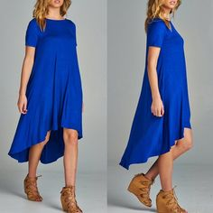 LYA hi low flowy dress - ROYAL BLUE HIGH LOW HEM JERSEY DRESS 96% RAYON 4% SPAN MADE IN USA. 3 colors: IVORY, BLACK & ROYAL BLUE PRICE FIRM Bellanblue Dresses