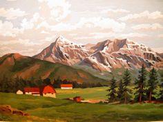 "Vintage Paint by Number Landscape Red Barns & Mountains Framed 27"" x 21"""