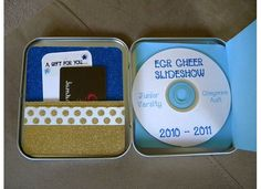 decorated tins to hold competition music or slide show pic dvds... love this!  Would be great for football dvd's too.