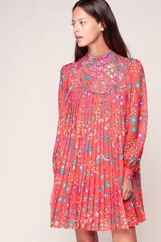 Robe fluide plissée coquelicot imprimé fleurs - Manoush