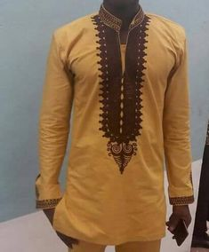 Gold and Brown designed shirtEmbroidered African