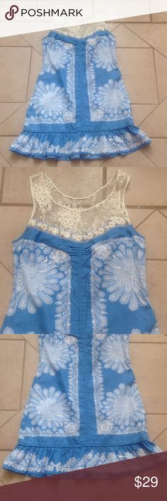 FREE PEOPLE Spring/Summer Dress  Sz 4 GREAT BUY! Describes this Blue/White FREE PEOPLE Dress that measures 17 inches from armpit to armpit; is 15 inches across the waist; is 18 inches across the hips; and is 33 inches in overall length. Free People Dresses Mini