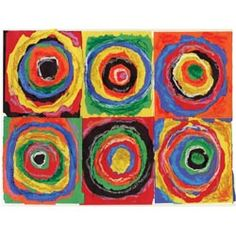 United Art and Education Art Project:  Pieces of torn construction paper combined with oil pastels make up the materials used to create this project inspired by Russian painter Wassily Kandinsky.