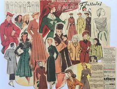 1930s & 1940s Winter Fashion Ladies For all vintage fashion lovers, winter outfits illustrations from 1930s + 1940s French newspapers and magazines. Over 15 pieces. Flat shipping fees