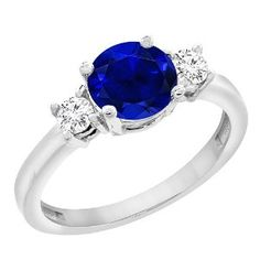 #blackdiamondgem  14K White Gold Natural High Quality Blue Sapphire Round 7mm with Diamond Accents, size 7 #blackdiamondengagementrings http://blackdiamondgemstone.com/colored-diamonds/jewelry/rings/14k-white-gold-natural-high-quality-blue-sapphire-round-7mm-with-diamond-accents-size-7-com/