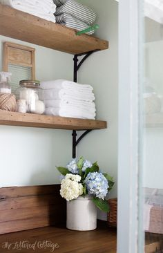 Laundry Room | Rustic Wood Shelves | Old Door Countertop, info. about the stain and the sealer on the countertop here