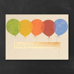 Fancy patterns adorn each balloon on the front of this shimmering cream birthday card, giving it an elegant touch of design while still celebrating the happy event.