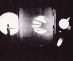 T. Lux Feininger, Light play with projections and translucent effects, Bauhaus, c. 1926.