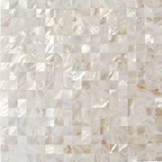 Shop 12 x 12 Serene White Squares Groutless Polished Pearl Shell Glass Tile in White at TileBar.com.