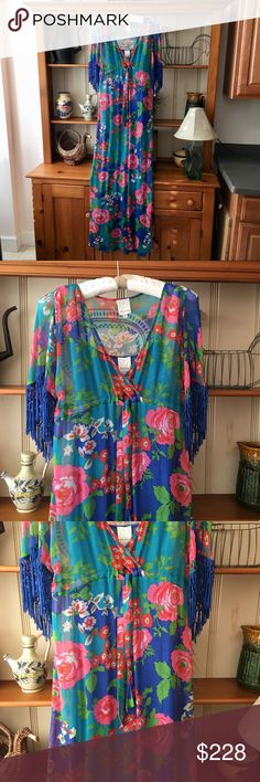 """Rosa Flora Fringed Spring Caftan Maxi Dress Excellent condition! Never worn. Very boho-chic. Fringed sleeves. Lined/slip with rayon fabric. Bust {35"""".} Length {57"""".} *Note: I acquired this from Kourtney Kardashian's personal collection at a charity event when Dash Miami opened several years back. So it's not only beautiful, but comes with a fun story to tell.  Offers always happily considered. Additional photographs and measurements available upon request. *I do not model items unless…"""