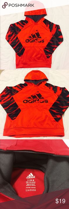 ADIDAS Hoodie  Size: 8 Adidas Pullover Hoodie   Size: 8   Colors: Red/Black/Gray  front pocket. Good condition. My son wore it twice for a short period. He doesn't like pull over hoodies. Adidas Shirts & Tops Sweatshirts & Hoodies