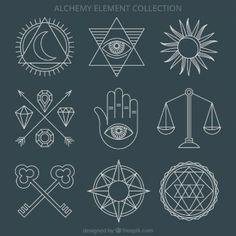 ornamentos alquimia e símbolos