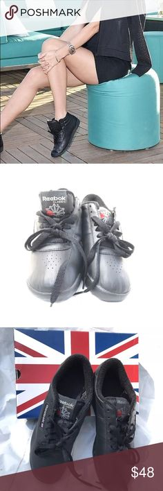 Reebok Princess Classic Trainers in Black size 8 Super cute and trendy! The Reebok classics are coming back. Shown in cover photo Miranda Kerr wearing them. These are new in box. Size 8. Reebok Shoes Sneakers