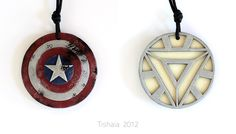 Captain America/Iron Man - Avengers pendant by tishaia.deviantart.com on @deviantART