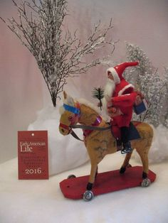 ANTIQUE GERMAN~PULL-toy HORSE~hand-made santa riding By: Jean T Littlejohn Pull Toy, Xmas, Christmas Ornaments, German, Santa, Horses, Antiques, Holiday Decor, Handmade