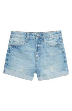 May 2020 - Girl's Treasure & Bond High Waist Roll Cuff Shorts, Size 7 - Blue Short Niña, Short En Jean, Short Girls, Cute Girl Outfits, Short Outfits, Outfits For Teens, Summer Outfits, Toddler Outfits, Girls Ripped Jeans
