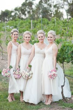We simply can't stop swooning over these gorgeous Paul Hunt (paulhunt.com.au) bridesmaid dresses. Photography: Kelly Adams Photography - kellyadamsphotography.com.au  Read More: http://www.stylemepretty.com/australia-weddings/2014/08/05/classic-country-wedding/