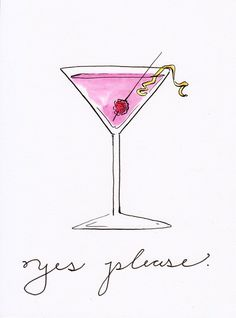 Cosmo Cocktail Illustration Print by PaigeClarkPrints on Etsy