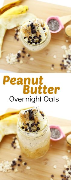 These Peanut Butter Overnight Oats are super quick and easy to make, super healthy, and it's like eating dessert for breakfast! Vegan and Gluten Free! PLUS a how-to video / TwoRaspberries.com
