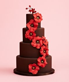 Chocolate Wedding Cake- I wanted this wedding cake to mimic my parents' summer garden, which is filled with poppies in the backyard. I was also inspired by chocolate and thought it'd be great to merge the two ideas.