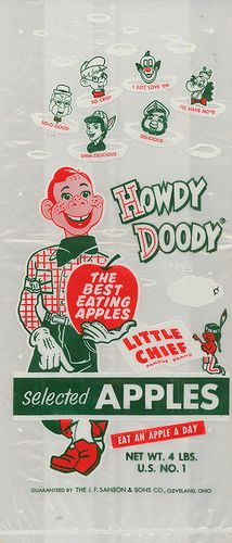 """LITTLE CHIEF"" Howdy Doody APPLES Bag."