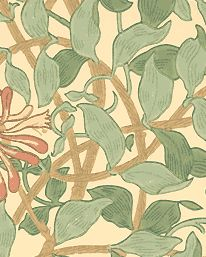 Honeysuckle, in Green/Beige/Pink (detail), from Morris & Co. Honeysuckle was drawn in 1883 by Morris' younger daughter, May