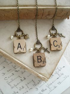 SCRABBLE Letter Charm Necklace. Personalized Letter Necklace. Vintage Wood Tile in Antiqued Brass Filigree. Rustic Eco Friendly Necklace.