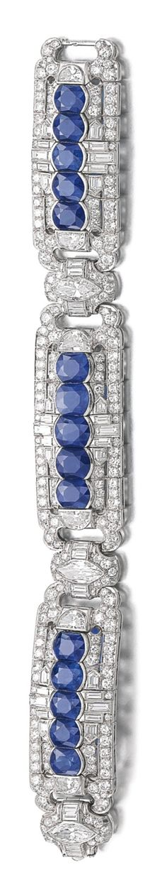 SAPPHIRE AND DIAMOND BRACELET Designed as a series of articulated geometric plaques set with mixed-cut sapphires, brilliant-cut, marquise-shaped, demi-lune and baguette diamonds, length approximately Antique Jewelry, Vintage Jewelry, Gemstone Bracelets, Jewelry Bracelets, Titanic Jewelry, Solitaire Ring, Bracelet Designs, White Gold Diamonds, Bracelets