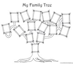 Coloring page for kids - a simple fun family tree chart.