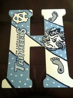 Custom Hand Painted UNC Tar Heels Door by DAMartndesigns on Etsy, $58.00