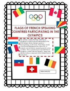 Les Jeux Olympiques Flags of French speaking Countries. Winter Olympic Games, Winter Olympics, Country Names, French Resources, French Class, Research Projects, Countries Of The World, French Country, Flags