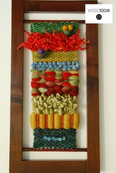 A piece of wool to fusion colorful paintings - Hand woven wall hanging…