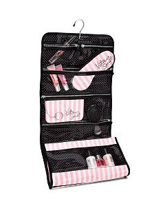 Victoria's Secret Iconic Stripe Folding Hanging Cosmetic Bag any color or styles. I just need makeup bags. Victoria Secret Makeup, Victoria Secret Bras, Victoria Secrets, Travel Cosmetic Bags, Travel Bag, Cosmetic Pouch, Dior, Shopping, Travel Accessories