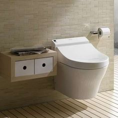 Use round or wall-mounted toilet in small bathroom.