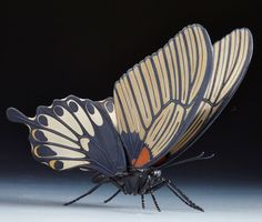 Kamiyama Masahiro - Jizai okimono or articulated sculpture in the form of a butterfly. This and more rare sculptures for sale on CuratorsEye.com