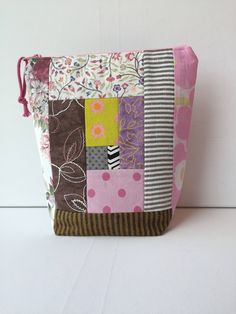 Project Bag Patchwork Zipper Small by LowlandOriginals on Etsy