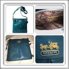 """NWT Coach Madison Leather Crossbody Swingpack  • One multifunction pocket  • Zip top closure • Lightweight leather and leather trim Fabric lining • 48"""" adjustable strap, can be worn on shoulder or crossbody 9 (L) x 9 (H) x 3/4 (W)  • Retail for $198 Teal leather exterior, with brown interior. Brass hardware. Coach Bags Crossbody Bags"""