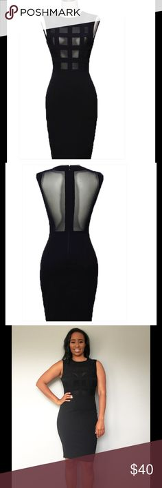 The Caged Raven Dress Caged sexy sheer mesh bandage top with curve hugging bottom. 93% Polyester 7% Spandex BOUTIQUE Dresses Midi