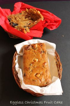 Eggless Christmas Fruit Cake recipe with step by step photos in vegan style! easy recipe with all ingredients found easily in your kitchen. Eggless Recipes, Eggless Baking, Vegan Baking, Cake Recipes, Vegan Food, Vegan Recipes, Vegan Christmas, Christmas Recipes, Kinds Of Desserts
