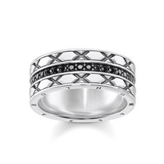 ring - 925 Sterling silver, blackened - zirconia black # Geometric rigour # Positive vibes # Far-Eastern symbolism Gracefully designed ornamentation and geometric rigour are combined in this creation full of expressiveness: Classic stone embellishment and Far-Eastern symbolism make this ring so special.