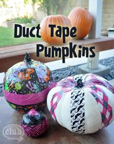 Duct Tape Crafts | Duct Tape Decorated Pumpkins | Tween Craft Ideas for Mom and Daughter