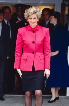 February 28, 1990: Diana, Princess of Wales on a visit to Tunbridge Wells in London, United Kingdom.