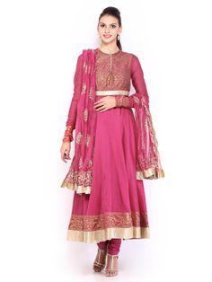 BIBA by Rohit Bal Women Pink Cotton Silk Churidar Kurta with Dupatta