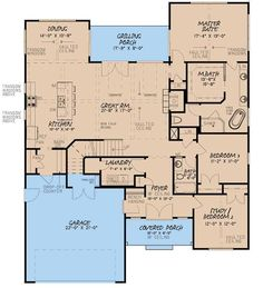 The fabulous 1-story home's floor plan has 1998 square feet of fully conditioned living space. #houseplan #floorplan