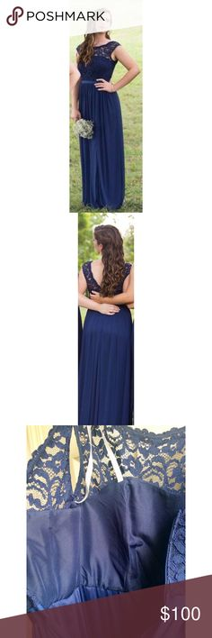 Elegant navy lace formal/prom dress. Perfect for a formal, prom, homecoming or a wedding!   Great condition. Worn once. Size 8. I am 5'3 with 3 inch heels in this. There is a slit in the left leg to right above my knee.   Smoke free, pet free home. David's Bridal Dresses Prom